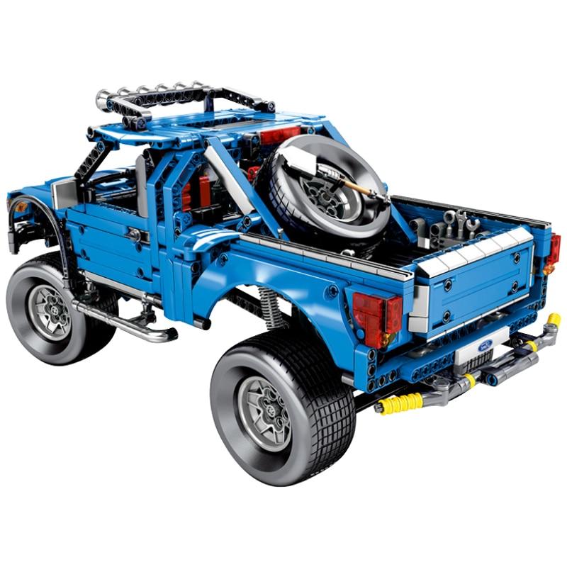 Oyuncaklar ve Hobi Ürünleri'ten Bloklar'de Teknİk Serisi Ford Raptor F 50 SUV kamyonet Geri Çekme Fonksiyonu oyuncak inşaat blokları Çocuklar Için Uyumlu Arabalar Setleri'da  Grup 2