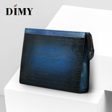 DIMY Italian Hand Patina Large Capacity Men Clutch Wallets Purse Bags Calfskin Bag Genuine Leather Day Clutches Handbag