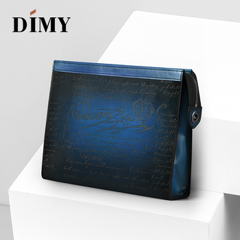 DIMY Italian Hand Patina Large Capacity Men Clutch Wallets Purse Bags Calfskin Clutch Bag Genuine Leather Day Clutches Handbag