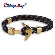 Новые модные браслеты с якорем мужские очаровательные 550 веревка