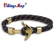 2017 New Fashion  Anchor Bracelets Men Charm 550 Survival Rope Chain Paracord Bracelet Male Wrap Metal Sport Golden Hooks cuteeco anchor bracelets charm chain rope metal bracelet anchor male gift hooks jewelry fashion golden bracelet men shark