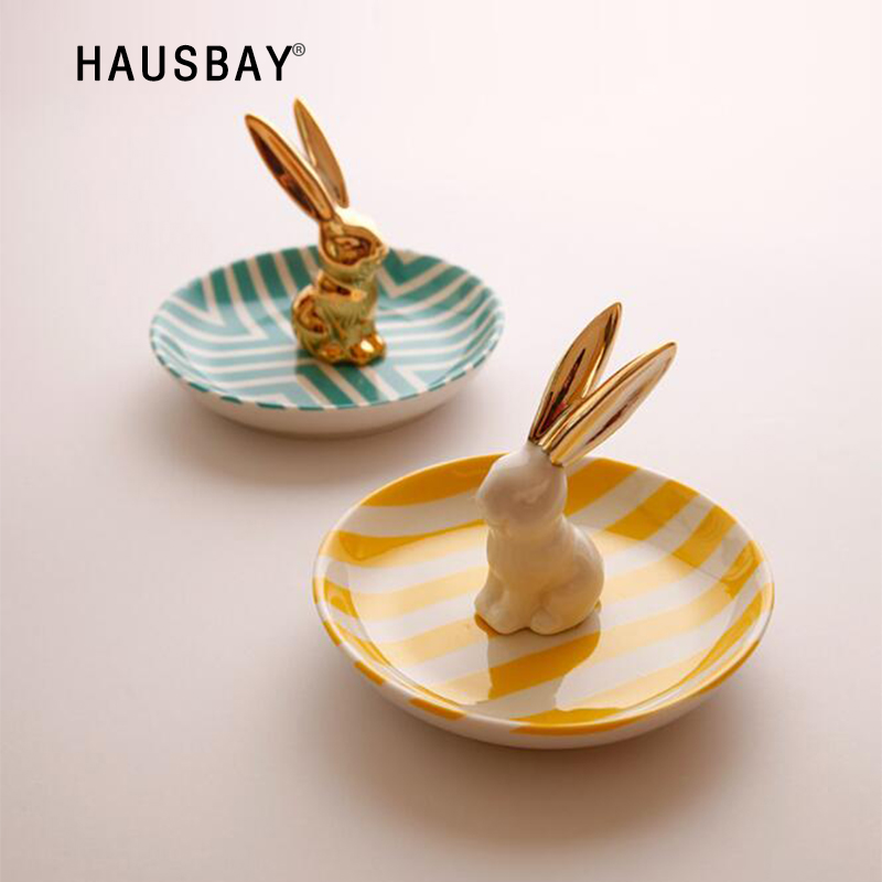 High-quality Creative Three-dimensional Rabbit Ceramic Jewelry Storage Tray Rings Storage Tray Dessert Dried Fruit <font><b>Plate</b></font> 1226