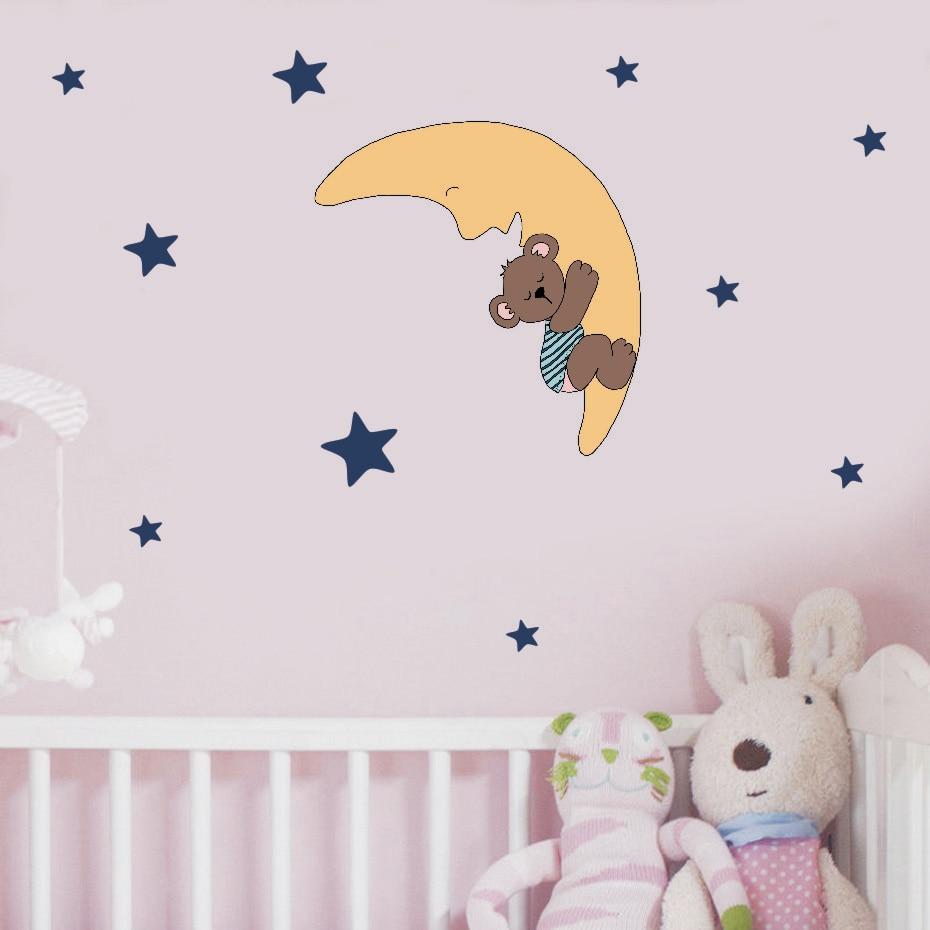 Cute Quite Sleep Bear with Stars Wall Decals Children 39 s Kids Cartoon DIY Art Vinyls Stickers Bedroom Home Decor Mural Wallpaper in Wall Stickers from Home amp Garden