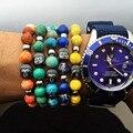 2pcs/lot 8mm Nature Turquoise Stone Black Beads Healing Balance Buddha Head Bracelet Yoga Bead Reiki Prayer Bijoux Bracelets