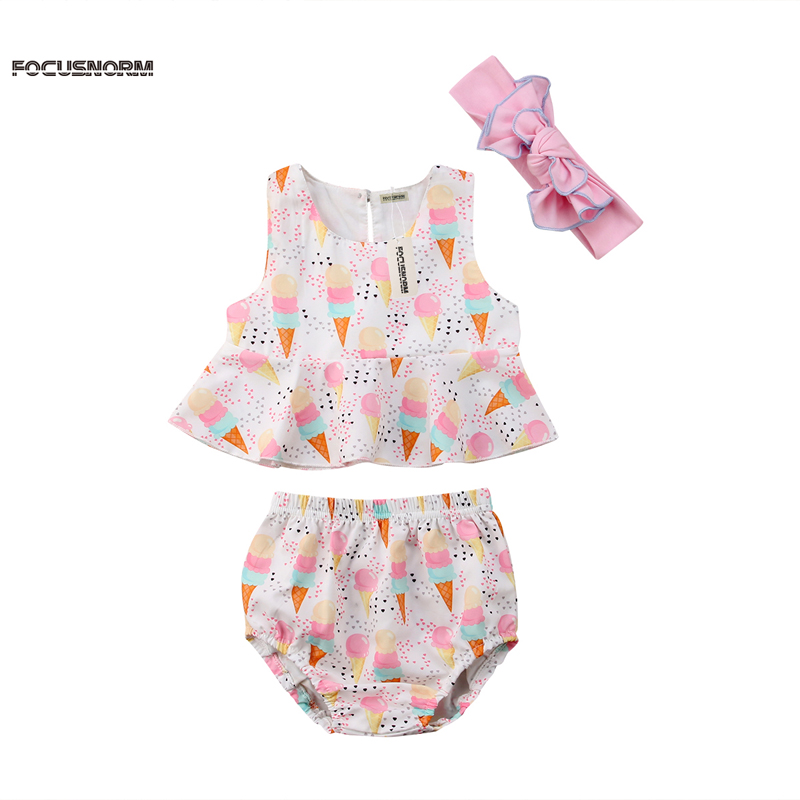 New Fashion Newborn Floral Baby Girls Clothes Set Lce Cream Tops Shorts Briefs Headband Outfits Clothes
