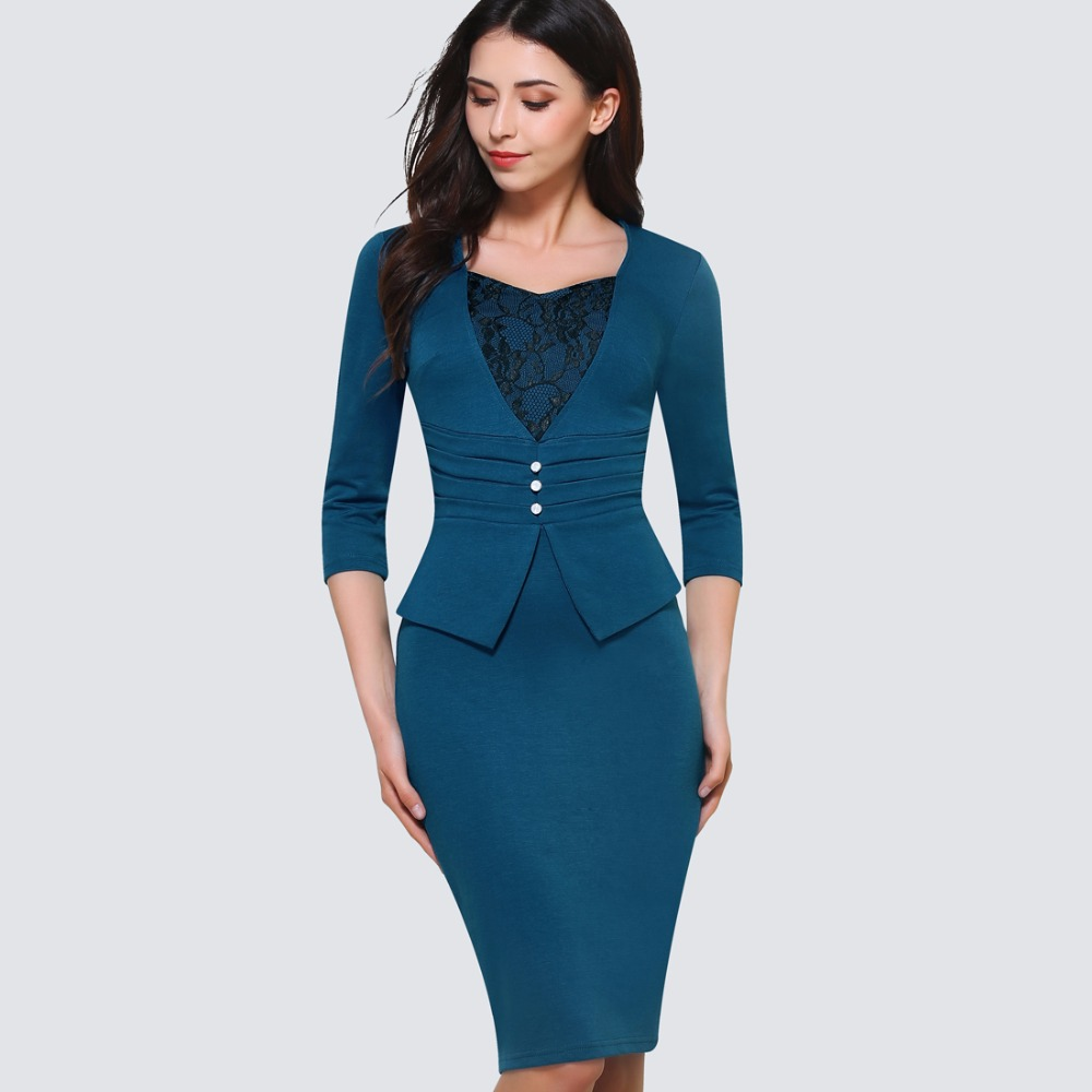 Una pieza de vestir formal con cuello en V de encaje drapeado botón blanco perla vestido de oficina mujeres longitud de la rodilla Zip volver vendaje vestido HB361