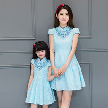 2016 new light blue mother and daughter dress family clothes long qipao traditional chinese clothing cheongsam