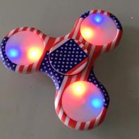 US Flag LED Light Up Fidget Spinner ABS EDC Tri Hand Finger Spinner For Autism And