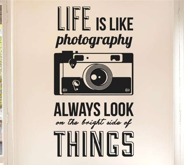 Life is like photography quotes camera wall sticker art vinyl home decor wall decal diy living