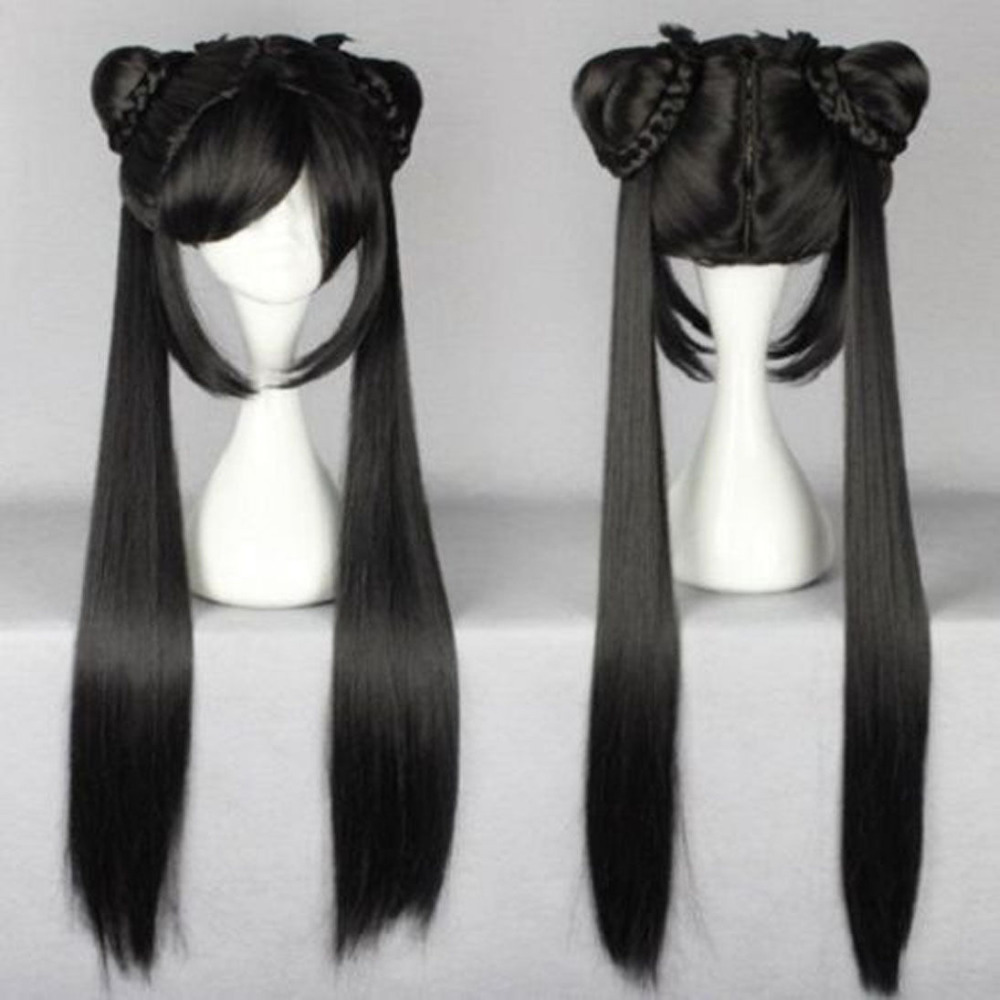 long black Straight Lolita Women Wig With Two Ponytails Anime Cosplay Wig free shipping charming 100cm long glossy straight side bang harajuku anime synthetic cosplay wig for women