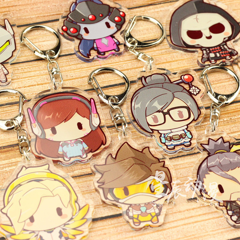 FPS Game Ow Keychain Fashion Overwatch D.va Hanzo Mei Tracer Reaper Figure Bag Pendants Car Key Chains Holder Keyrings Jewelry