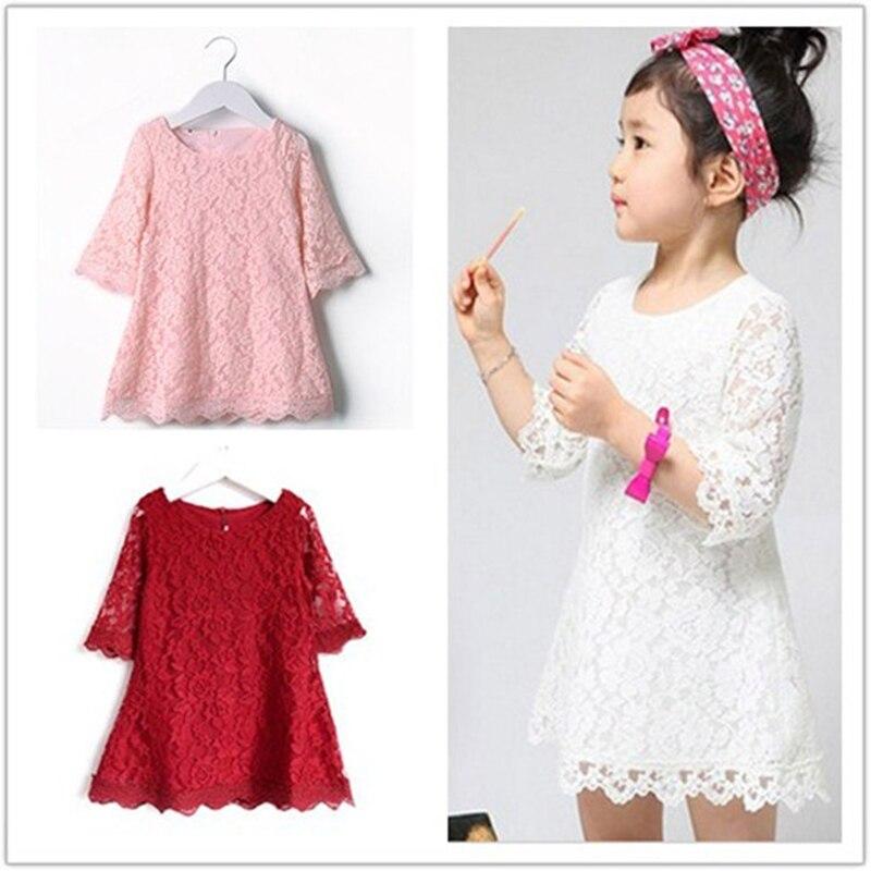 Kids 2019 New Summer Autumn Lace Dress White Large Size