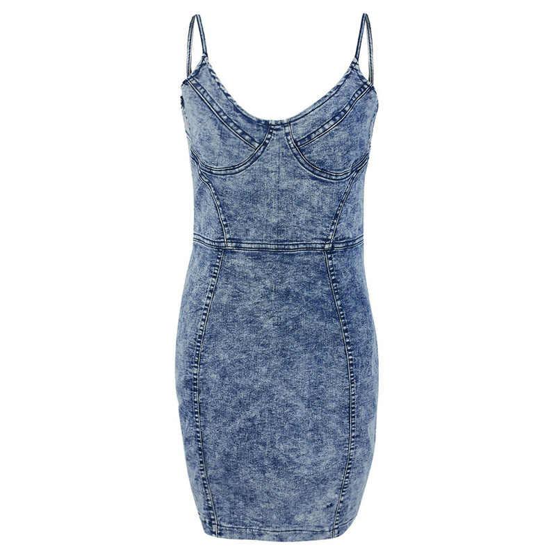 Модное женское джинсовое прилегающее платье без рукавов с v-образным вырезом и открытой спиной, на бретельках, платье-карандаш, вечерние, тонкие, повседневные, мини-платья