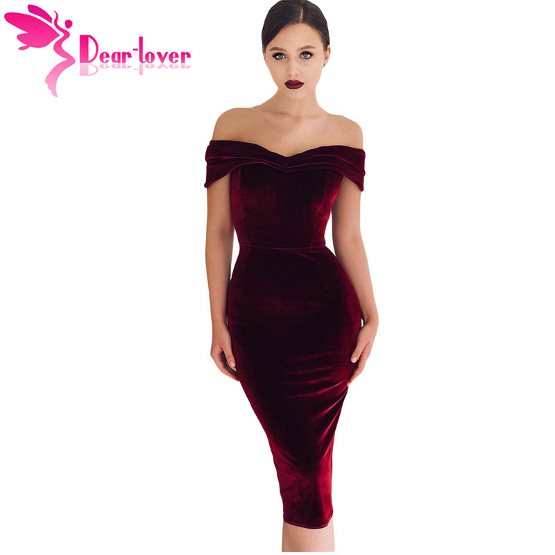 7d9015acff US $16.65 36% OFF|Dear Lover Velour Dresses Women Autumn Sexy Burgundy V  neck Velvet Bodycon Midi Dress Vestidos de Festa Solid Color LC610980-in ...