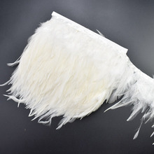 1Meters white rooster saddle feathers trim fringe plumas 8-10cm DIY natural ribbon for Sewing Clothing Party decorative