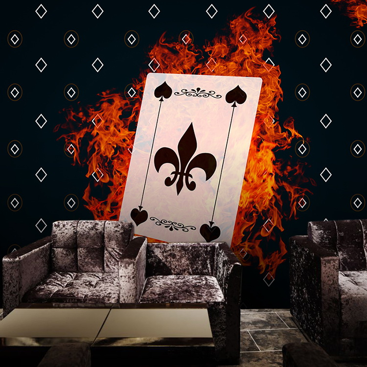 Modern minimalistic fashion poker mural Photo wallpapers background wall Entertainment place decorative painting murals
