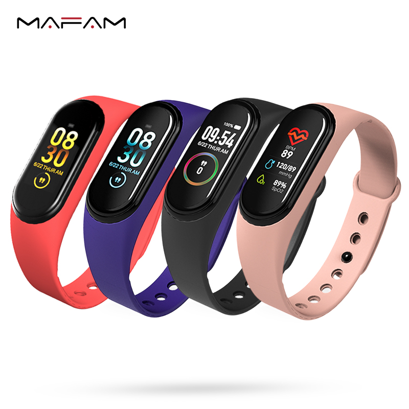 MAFAM M4A Smart Band Wristband Health Heart Rate Blood Pressure Monitor Fitness Tracker Bluetooth Sports Bracelet for men women image