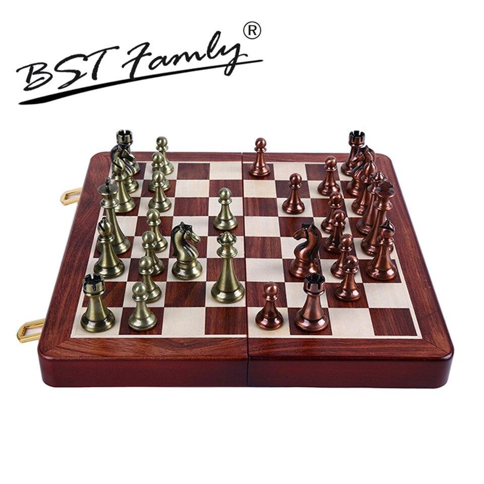 цена на BSTFAMLY Kirsite Metal Chess Set Portable Game of Iternational Chess Wooden Folding Chessboard King Height 67mm Chess Game I6