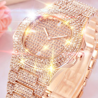 TOP Brand Luxury Women Watches Bling Watch Full diamond crystal rhinestone Watch Hour reloj mujer relogio feminino relogio #F