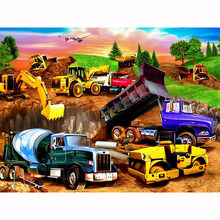 100% New 5D Diy diamond painting cross stitch Trucks Excavators Full Square Drill Needlework Rhinestone home decor gift WG1123(China)