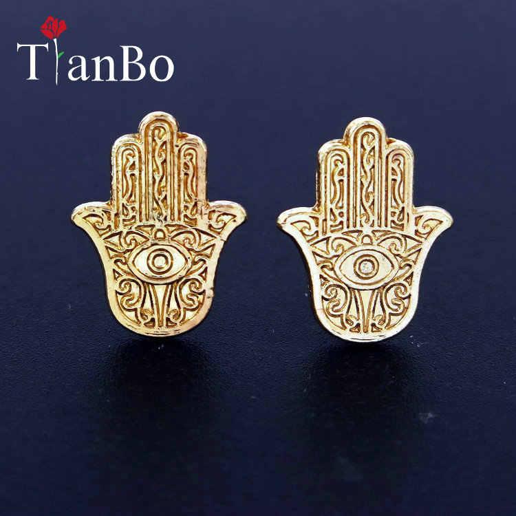 cc0ec6b375ea9 TianBo Hamsa earrings studs fatima hand earrings stud earrings crystal  double sided ear stud fashion jewelry
