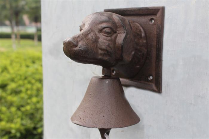 Винтажный чугунный дверной звонок с головой собаки, двухсторонний коричневый настенный металлический подвесной колокольчик, домик для дома, Декор для дома - 6