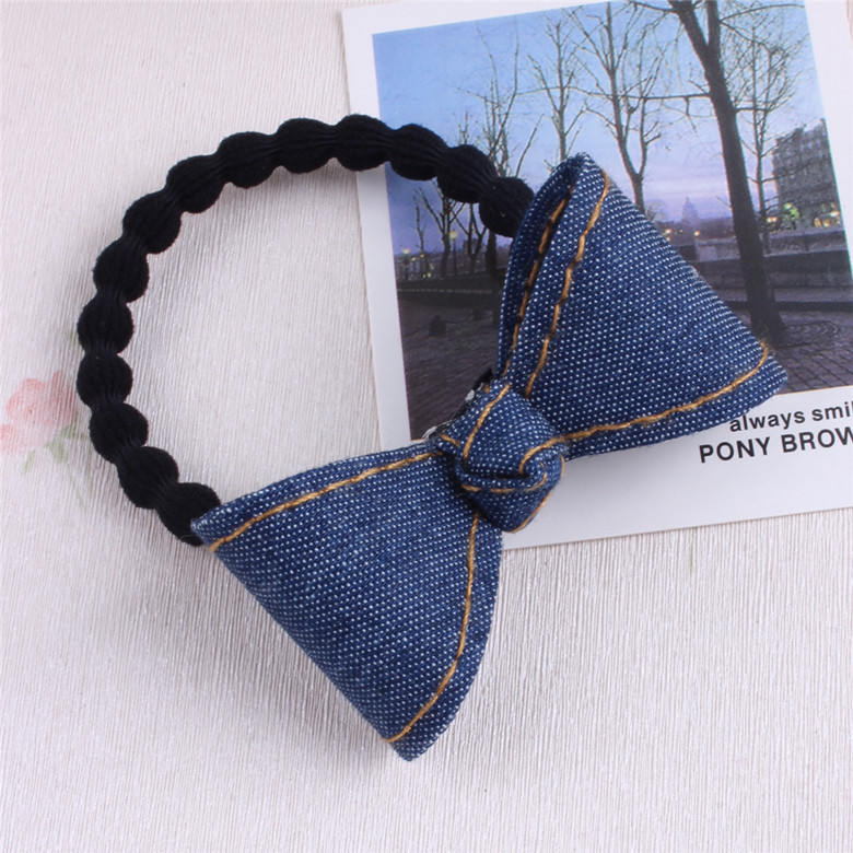 Korean Version Denim Bowknot Children Hair Ropes Elastic Rubber Hair Band Girls Hair Accessories Baby Headwear Kids Headdress 2015 fashion elastic hair bands for women candy color baby girl kids headbands hair ropes headwear hair accessories 20 colors