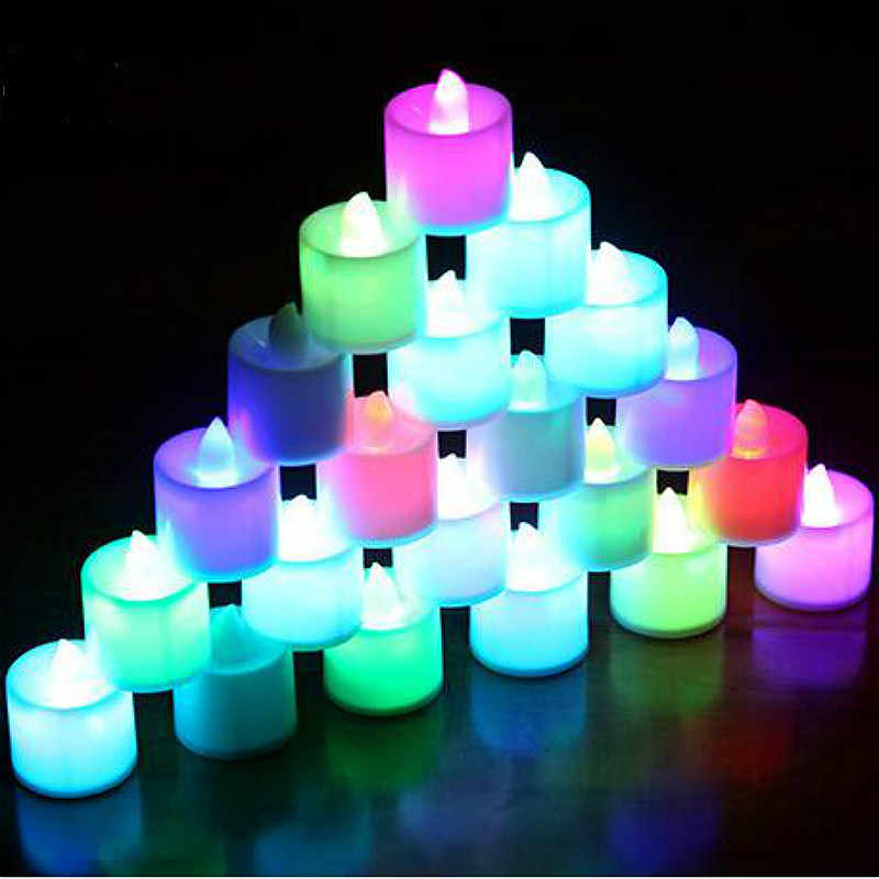 BRIDAY 1pc LED Candle Light Battery Powered Lamp Simulation Color Flame Flashing Home Wedding Birthday Party Decoration@2