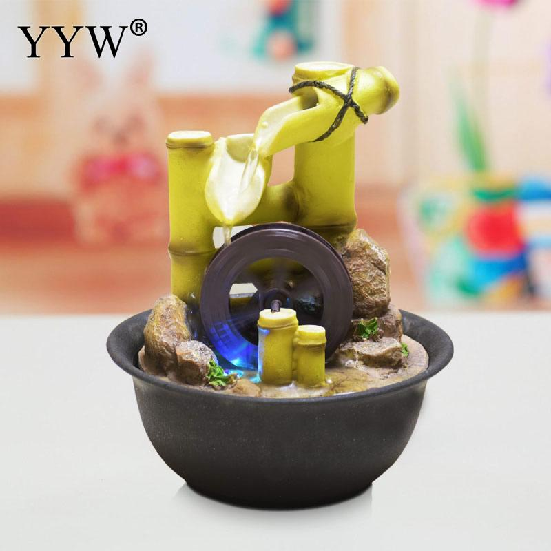Chinese Rich Bamboo Indoor Water Fountains Feng Shui Fountain With Led Bamboo Wheel Indoor Desktop Tabletop Decor Decorativas Figurines Miniatures Aliexpress