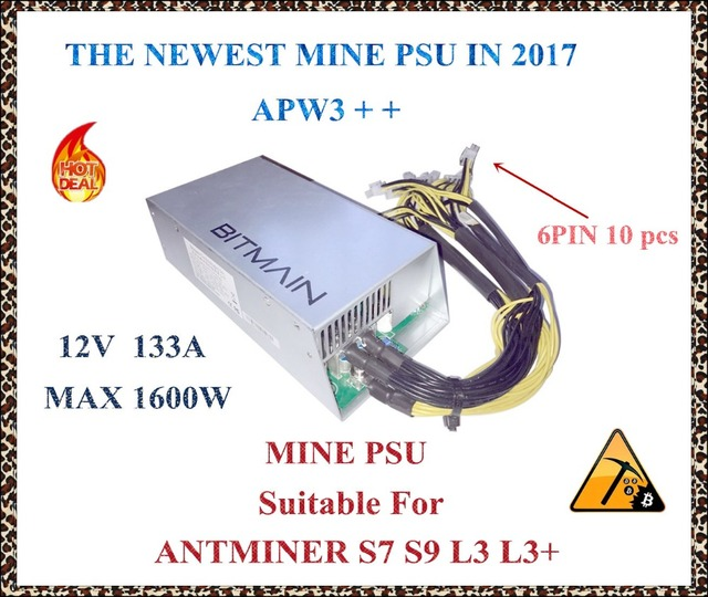 ANTMINER L3+ MINE power supply (new) 12V 133A MAX 1600W suitable for ANTMINER S7 S9 L3 L3+ DR2 DR3 X11 CUBE .YHUNHUI