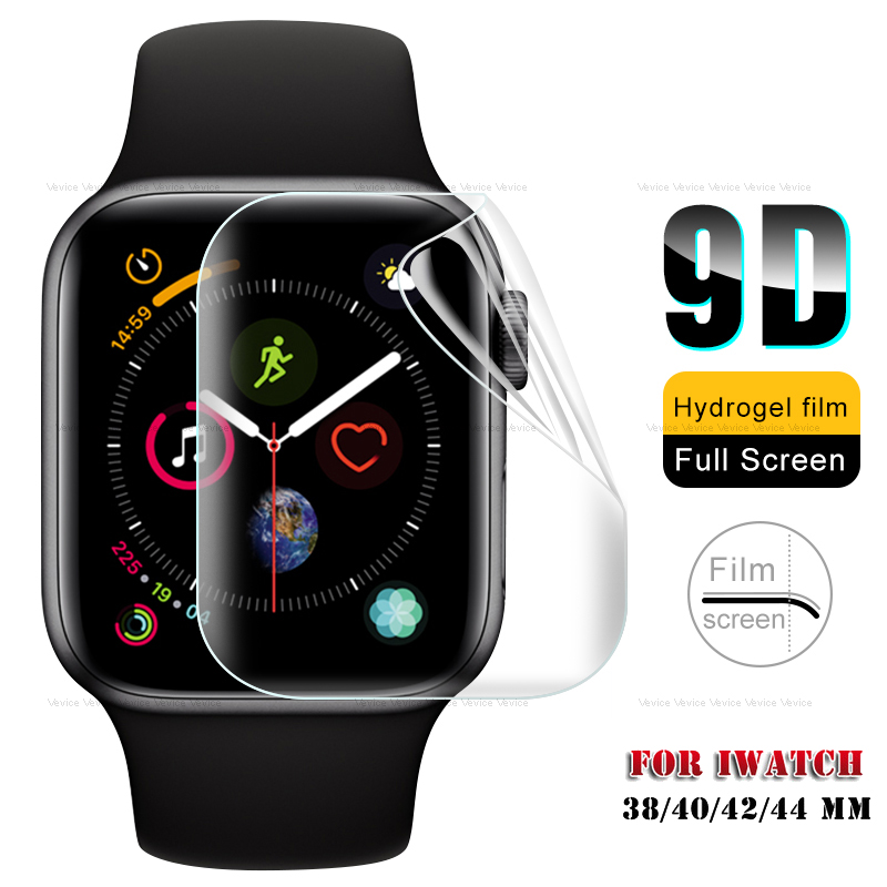 9D Curved Tempered Glass On For IWatch 1 2 3 4 5 Screen Protective Soft Hydrogel Film For Apple Watch 38 40 42 44 Mm Protector