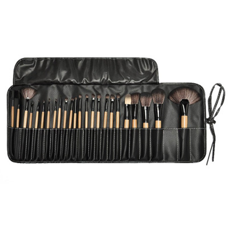 24 Pcs Portable Professional Makeup Brushes Set Eyeshadow Blush Foundation Powder Cosmetic Wood Brush Tool with Make Up Bag Kits professional 24pcs set champagne makeup brushes powder foundation blush brush high quality cosmetic make up tools kits with bag