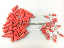 faston red 50pcs 6.3mm insert piece spring insulation wiring terminal FDFD-1-250 male and female plug 0.5-1.5 pair joint