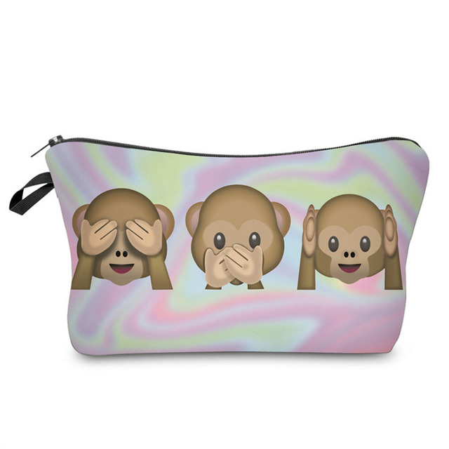 24fded52ced3 US $1.92 39% OFF|Portable Women Zipped Storage Organizer Casual Makeup Bags  Fashion Female Cute 3 Monkeys Printing Travel Cosmetic Bag Popular-in ...
