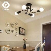 OYGROUP Vintage Wrought Iron 4 Heads Multiple Rod Ceiling Lamp Creative Retro Nostalgia Cafe Bar Ceiling