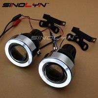 LED Melek Gözler Sis Işık Projektör Lens Kit Ile H3 Halojen işık Sürüş Lambaları Sis Lambaları Araba Güçlendirme Tuning Için 55 W Evrensel
