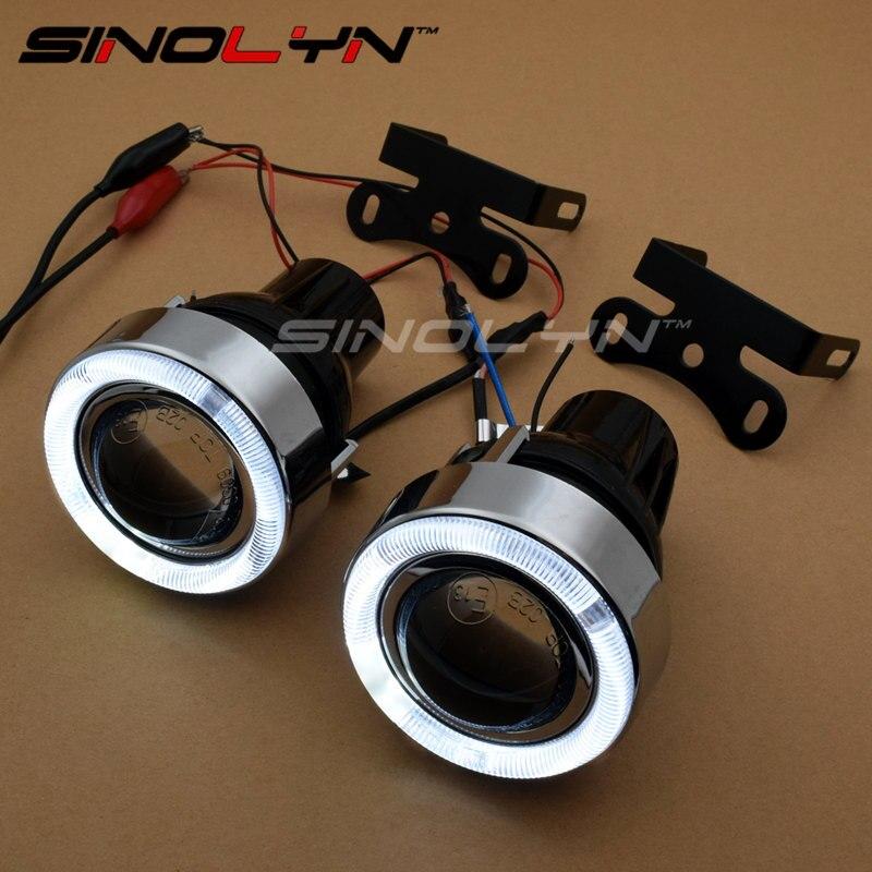 LED Angel Eyes Fog Light Projector Lens Kit With H3 Halogen Light Driving Lamps Fog Lamps