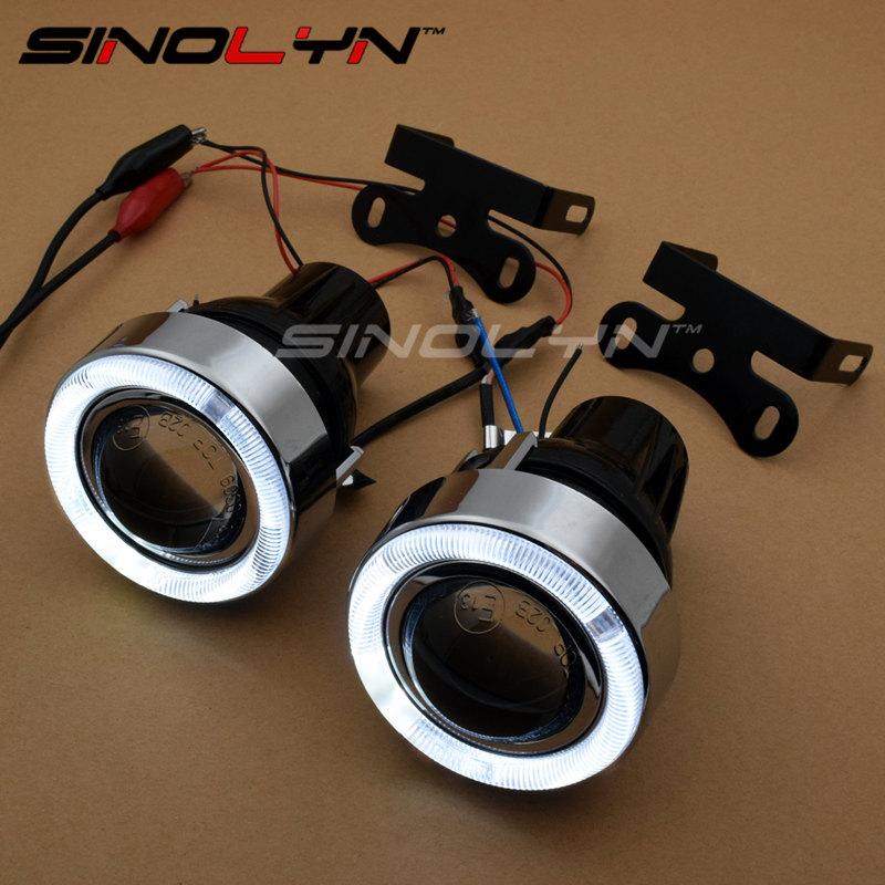 LED Angel Eyes Fog Light Projector Lens Kit With Halogen Light Driving Lamps Fog Lamps For