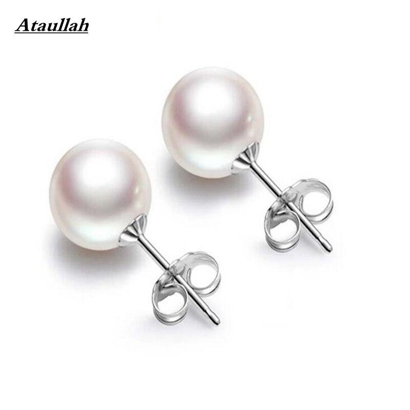Ataullah 10 мм никогда не увядает антиаллергенным 925 жемчуг серебро Серьги-гвоздики для Для женщин и девочек Серьги Ювелирные украшения бренд ewc024