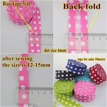 100% Cotton Bias Binding Dot Tape Trim Ribbon 30mm,10meter Printed White Spots binding Fold Sewing Accessories