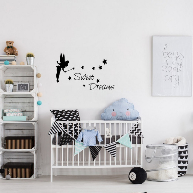 Sweet Dreams Kids Quote Diy Stars Little Fairy Vinyl Wall Sticker Decor Decals For Baby Room
