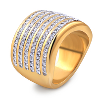 18K Gold Plated Stainless Steel Jewelry Women 5 Row Crystal Rings