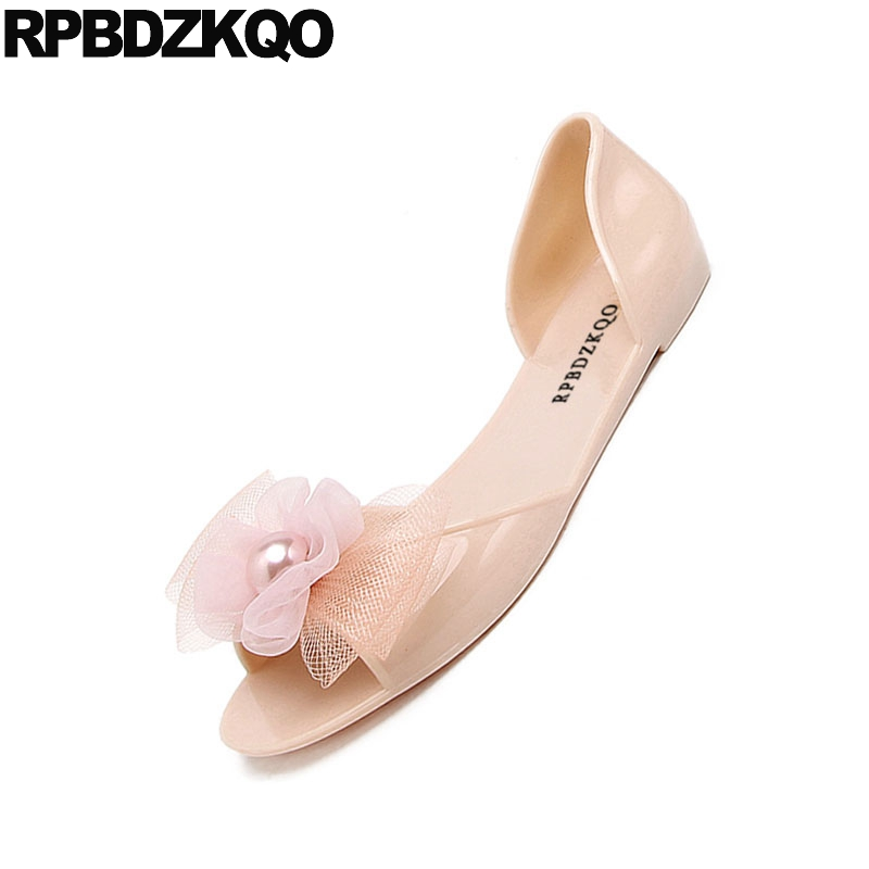 Image 5 - rubber kawaii bow women sandals flat summer 2019 cheap embellished shoes cute jelly pearl soft pink beach slip on black pvcLow Heels   -