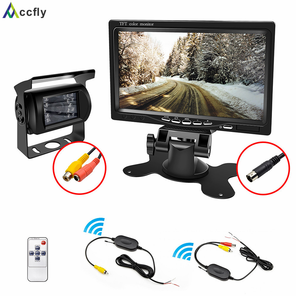 Accfly 12V 24V car reverse reversing rear view camera Wireless with Monitor for trucks bus excavator Caravan van Trailer camper