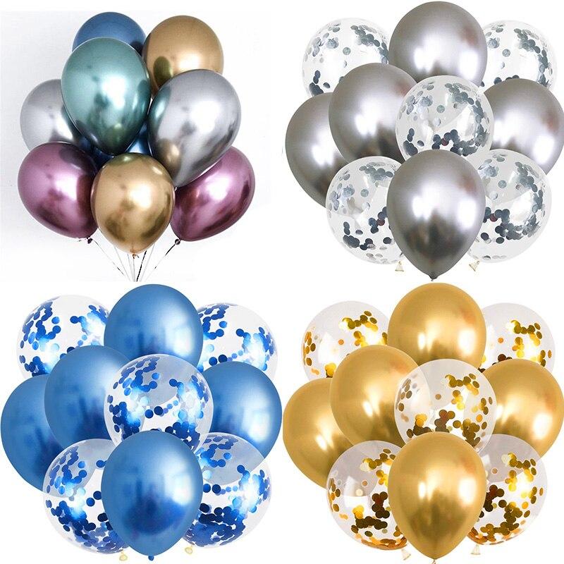 5/10 pçs metálico brilho balões confetes de ouro látex balões festa feliz aniversário decorações crianças adulto helium globos festa suprimentos