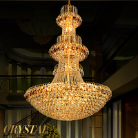 led e14 Modern Golden Tiered Crystal Alloy LED Lamp LED Light.Pendant Lights.Pendant Lamp.Pendant light For Staircase Hall Hotel