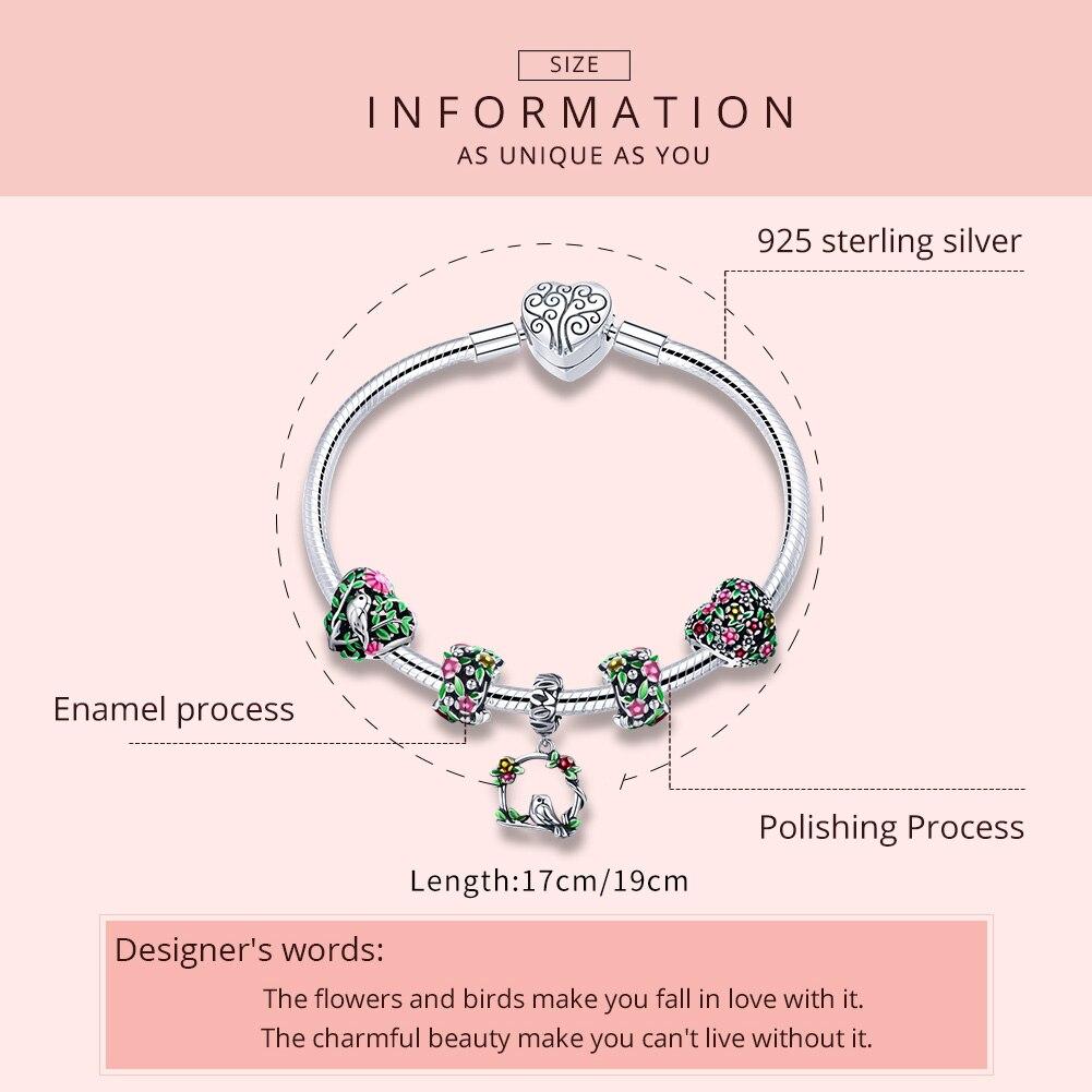 WOSTU Venta de plata de ley 925 de primavera flores hojas y pájaro pulsera del encanto para las mujeres de la marca de moda de regalo de la joyería de CQB804 - 2