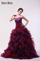 Real Photos Strapless Neckline Ball Gown Purple Red Evening Dresses with Beaded Sleeveless Floor Length Long Prom Gowns