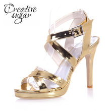 97d29633f9187 Creativesugar glossy PU cross strap sandals gold silver blue metallic  patent leather shinning women summer pumps fashion show