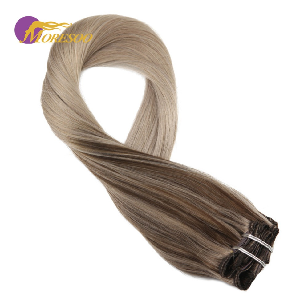 Moresoo Double Weft Clip In Human Hair Extensions #4 Fading To #18 Mixed With Ash Blonde Machine Remy Brazilian Hair 7Pcs/100G
